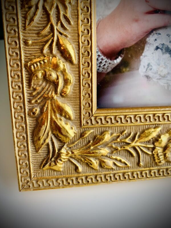 Antique Styled Gold Gesso Wood Gladiolus Embossed Picture Frame Fit 4x6 ITEM#549