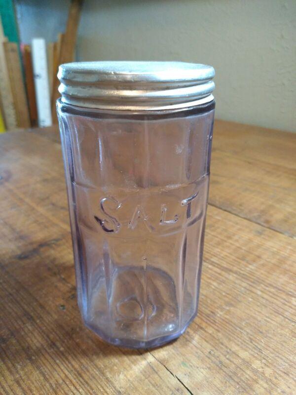 ANTIQUE GLASS SALT JAR ALUMINUM TOP VIOLET GLASS 1890