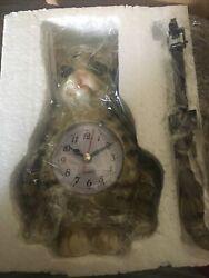 "NIB 12"" Cat Clock With Pendulum Tail Made By Prime way Company LTD"