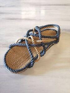 Men's  Size 10 Wide Rope Sandals Denim Combo