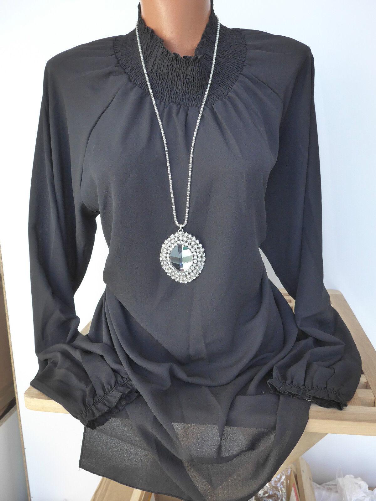 Sheego Tunika Bluse Shirt Gr. 44 - 52 Schwarz mit hohem Kragen (715) NEU