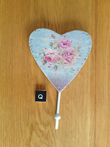 VINTAGE STYLE SINGLE FLORAL HEART WALL HOOKS KEY HOOKS JEWELLERY DISPLAY HOLDER
