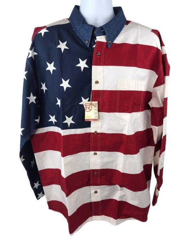 Roper Mens Patriotic Stars & Stripes American Flag Long Sleeve Button Shirt XL