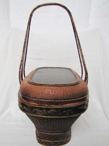 Antique Chinese Bamboo & Wicker Basket w/ Poem & Longevity God