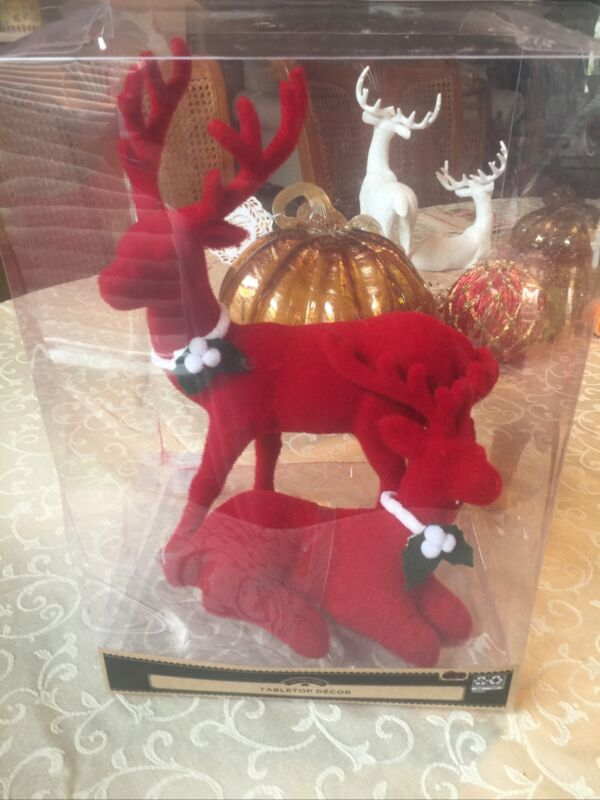 HOLIDAY TIME RED FLOCKED REINDEER TABLE TOP CHRISTMAS