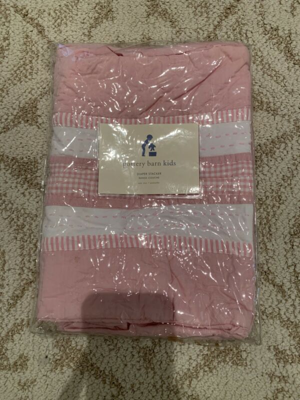 Pottery Barn Kids Diaper Stacker Pink Gingham Check Crib Organizer Nursery Girl