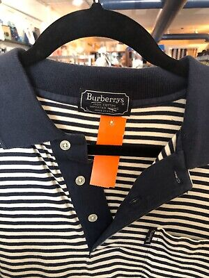 Burberrys London mens L Striped Polo Shirt w/ Pocket