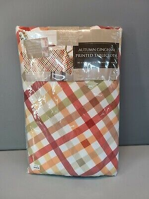 Autumn Gingham 90-Inch Round Tablecloth in Multicolor Thanksgiving seats 6-8