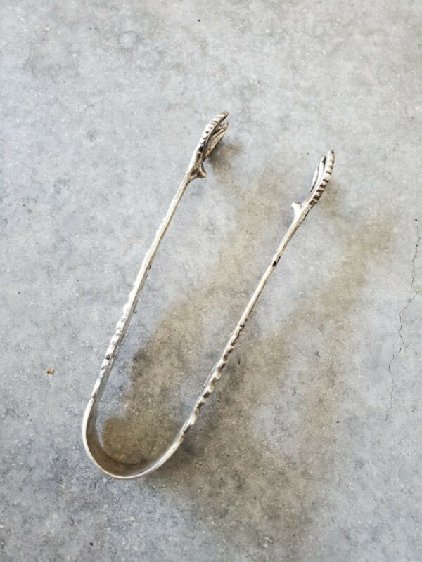 Vintage Silver Sugar Olive Tongs (can