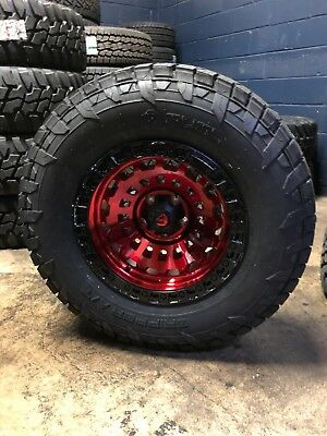 """17x9 Fuel D632 Zephyr Red 33"""" AT Wheel and Tire Package Jeep Wrangler JK JL"""