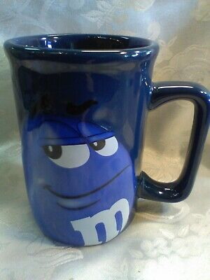 M&M Peanut Coffee Mug Cup Character Face Official Licensed Product Blue  ](Peanuts Characters Merchandise)