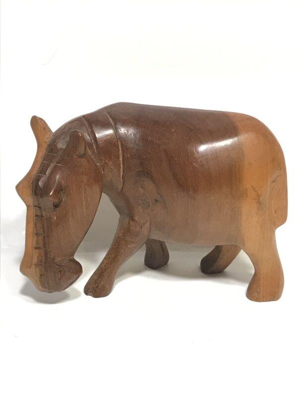 "CARVED Wood HIPPO HIPPOPOTAMUS 3.5""x5"""