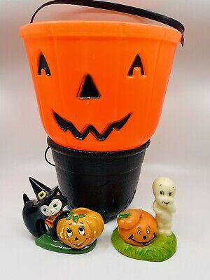 VTG Halloween Lot Blowmold Pumpkin Pail & Cauldron Lefton Witch Casper Candle