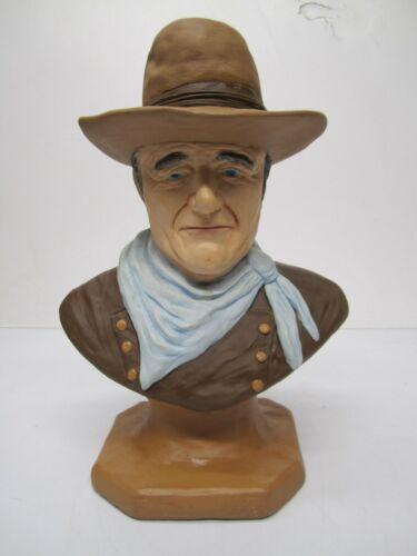 "Large 16"" Vtg John Wayne Western Bust Statue Ceramic Head Sculpture Chalkware"