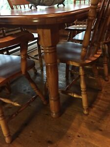 Wood Table & 7 Chairs for Sale