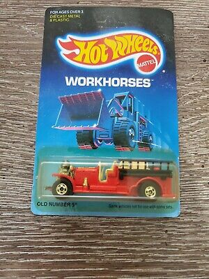 Hot Wheels 1989 Workhorses - Red Old Number 5 Fire Engine- Unpunched Card!