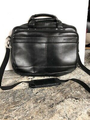 Samsonite Black Leather Attache Laptop Case Messenger Bag