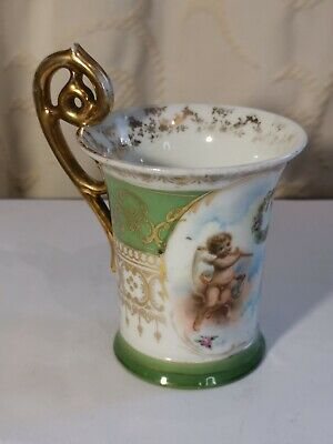 Royal Vienna Porcelain Green & Gold Chocolate Cup