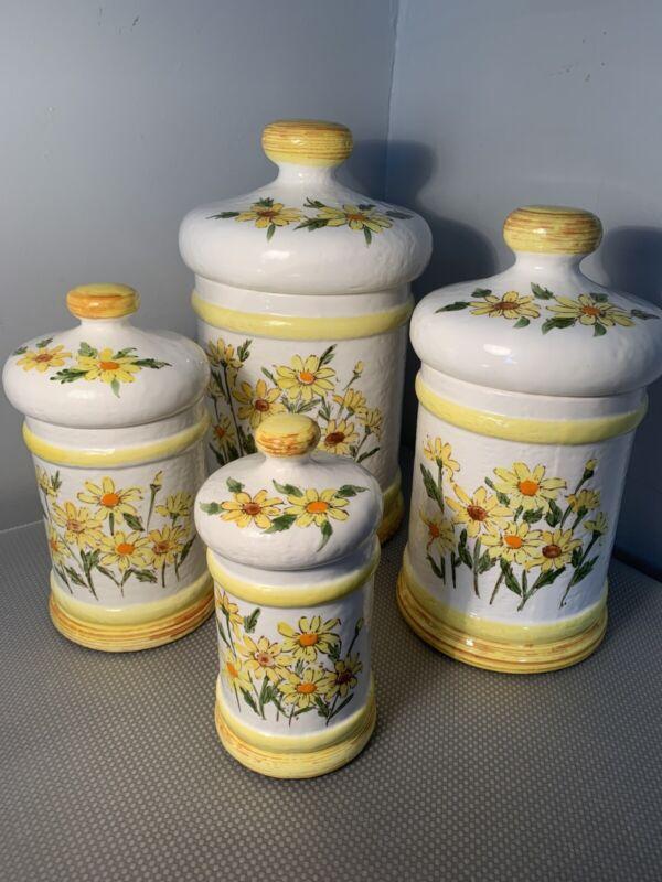 Vintage 1978 Sears Roebuck Daisy Sunflower Pattern Ceramic Canister Set of 4 EUC
