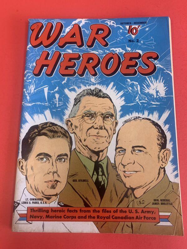 WAR HEROES # 2 (1942) DELL WAR COMIC - VINTAGE GOLDENAGE COMICS - NICE