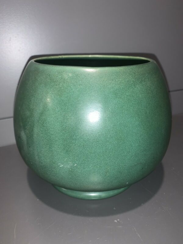 Vintage McCoy Round Footed Green Planter Pot - Made in the USA #520