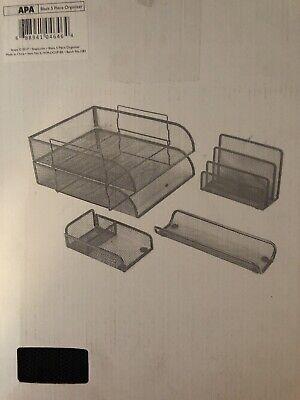 Ilyapa 5 Piece Wire Mesh Desk Organizer Set - Silver Office Desk Organizers