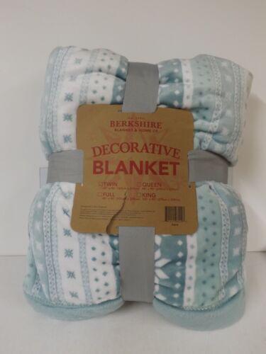 Berkshire Blanket Velvet Soft and Fair Isle Blanket-Aqua-TWI