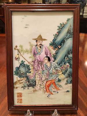 A Chinese Qing Dynasty Famille Rose Porcelain Plaque, Marked.