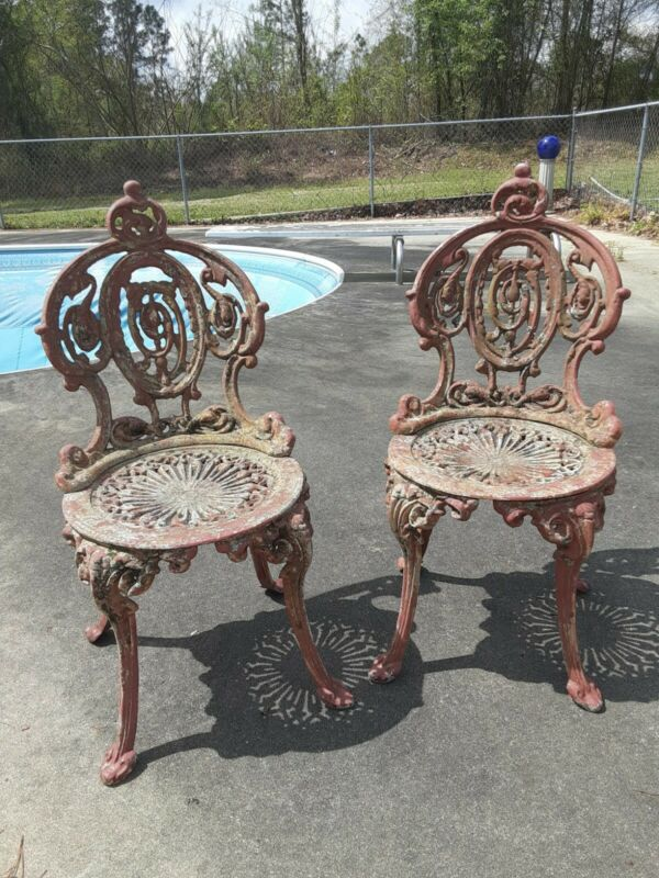 PAIR Heavy Vintage Garden Chair Cast Iron French / English? Early iron Rare pair