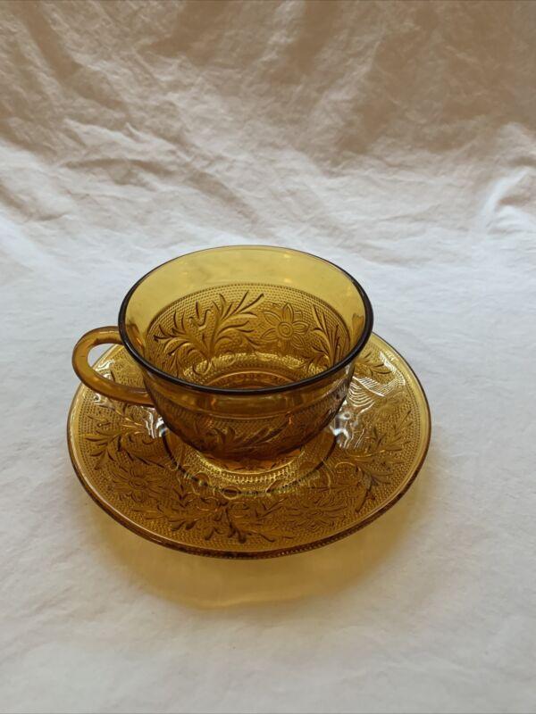 Tiara Amber Indiana Glass Tea Cup and Saucer ~FREE SHIPPING