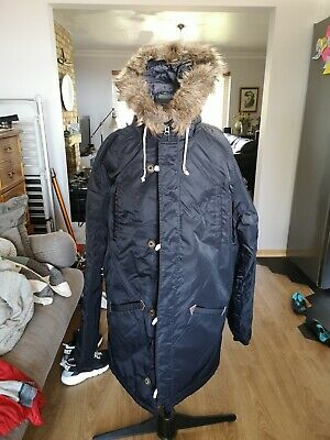 Vans Mens Parka Jacket Fur Hooded Black Size Large