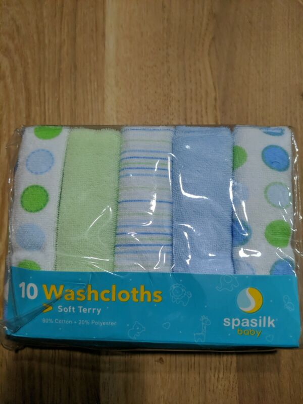 Spasilk 10 Pack Soft Terry Washcloth, Blue Blue Dots