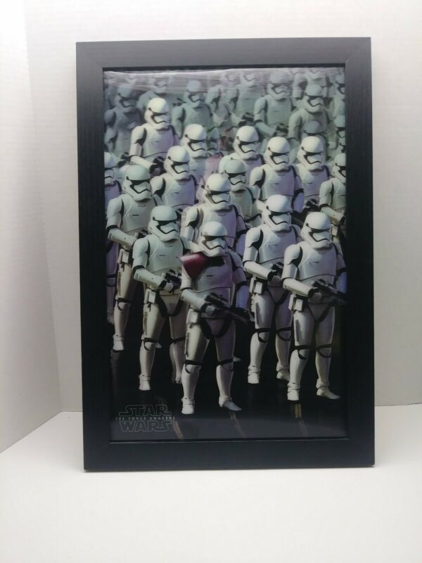 3D EFFECT! Star Wars, First Order Storm Troopers Framed Poster Wall Art. 13'X19'