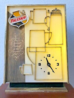 Vintage Falstaff Beer Sign mug stein Light wall toast Clock man cave bar garage
