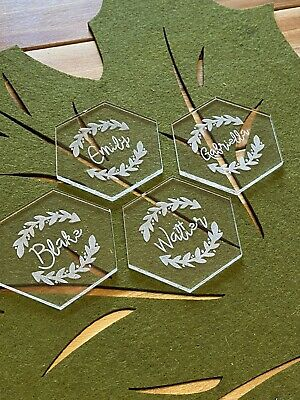 "Laser Cut 25 Hexagon 3"" Clear Acrylic Place Cards for Wedding Blank Table Seatin"