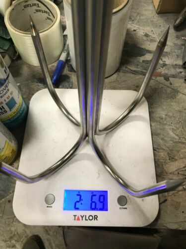 """8 Inch dia 4 Prong Welded 3/8"""" Stainless Pier or Bridge Gaff With Eye For Rope"""