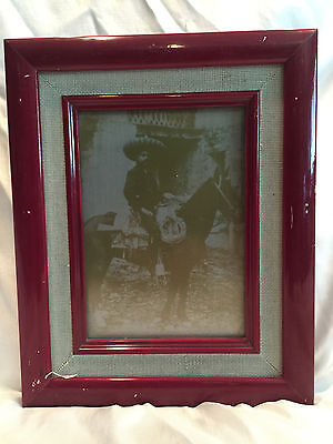 VINTAGE FRAMED PHOTO ON ALUMINUM PRINT PLATE SHEET OF EMILIANO ZAPATA ON A HORSE