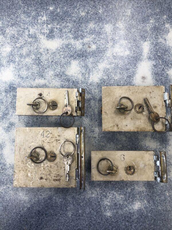 4-VINTAGE DIEBOLD SAFE DEPOSIT BOX LOCK W/ 2 KEYS & HINGE SAFETY DOOR