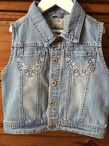 mothercare Girl's faded-wash Denim Vest Size 8