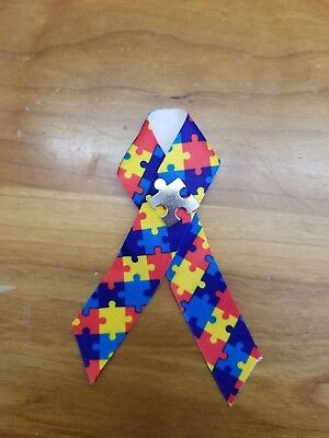 - Autism Awareness Puzzle Ribbons with Pin