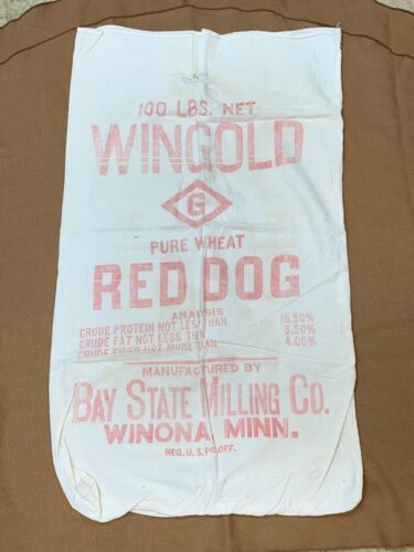 VINTAGE WINGOLD PURE WHEAT RED DOG FEED SACK WINONA MINN. GC