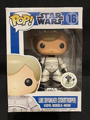 ECCC Funko Pop Luke Skywalker Stormtrooper Star Wars Rare HTF Disney Shelf Wear