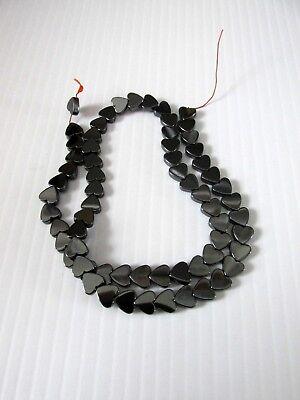 65pcs 6mm grey hematite heart beads jewellery making craft UK