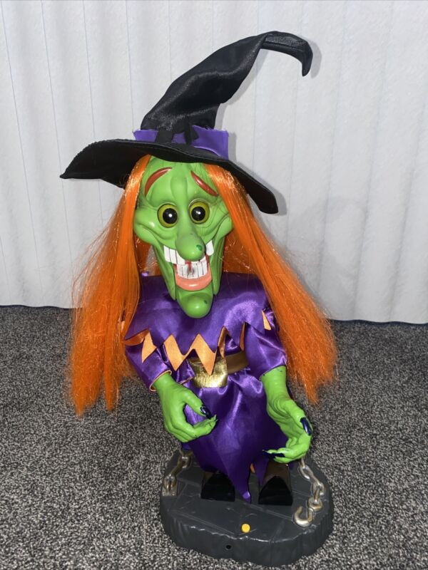 "RARE 18"" Gemmy Freaky Geeks Halloween Motion Singing Witch-Evil Ways 2003"