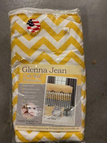 Glenna Jean Swizzle Yellow 1 Long Wide Baby Crib Rail Guard Protector