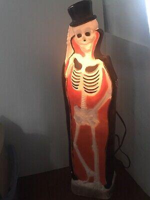 VINTAGE HALLOWEEN SKELETON BLOW MOLD LIGHTED PLASTIC UNION DON FEATHERSTONE