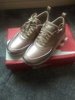 Womens Nike Air Max Thea Premium Rose Gold Metallic Pink Low Trainers UK 4.5 NEW