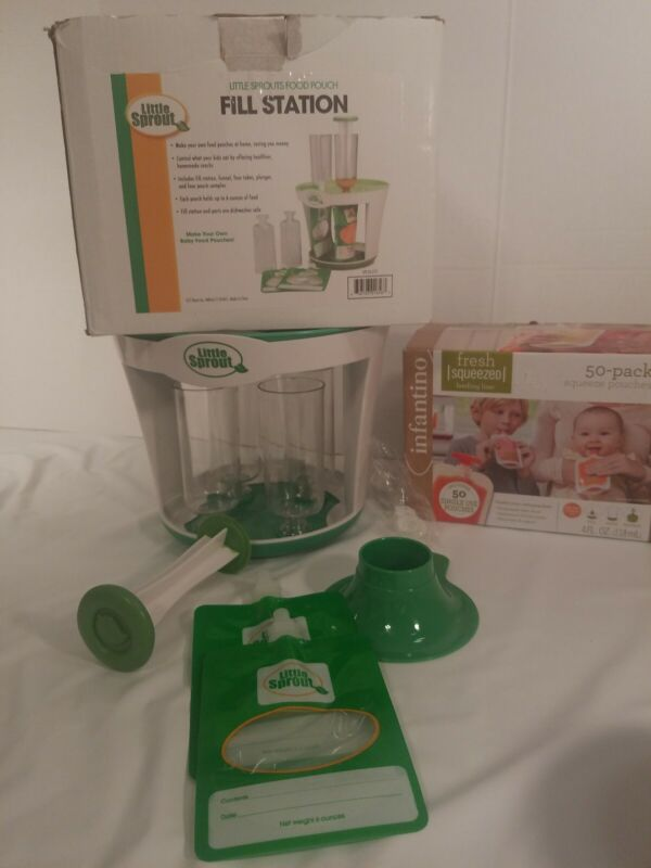 Little Sprouts Baby Food Pouch Fill Station, 50 infantino single use pouches