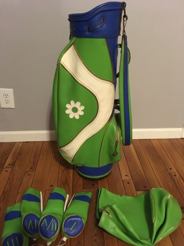 Retro Faux Leather Vintage Royal Golf Cart Bag With Head & Rain Cover