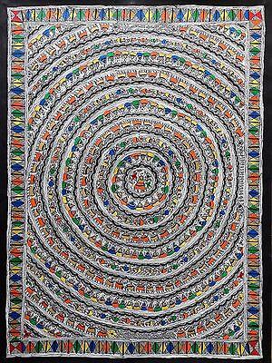 """Large 30"""" Madhubani Mithila Paintings 'Life Circle' Handmade Indian Folk Art"""